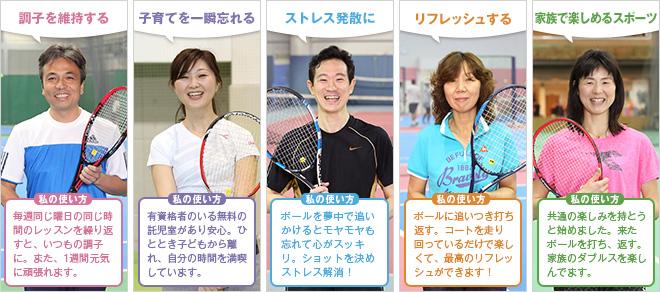運動不足解消に/新しい友だちをつくる/テニスを趣味にする/気持ちいい汗を流す/生活にリズムをつくる