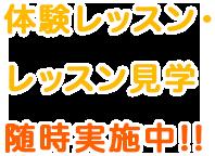 体験レッスン・レッスン見学随時実施中!!