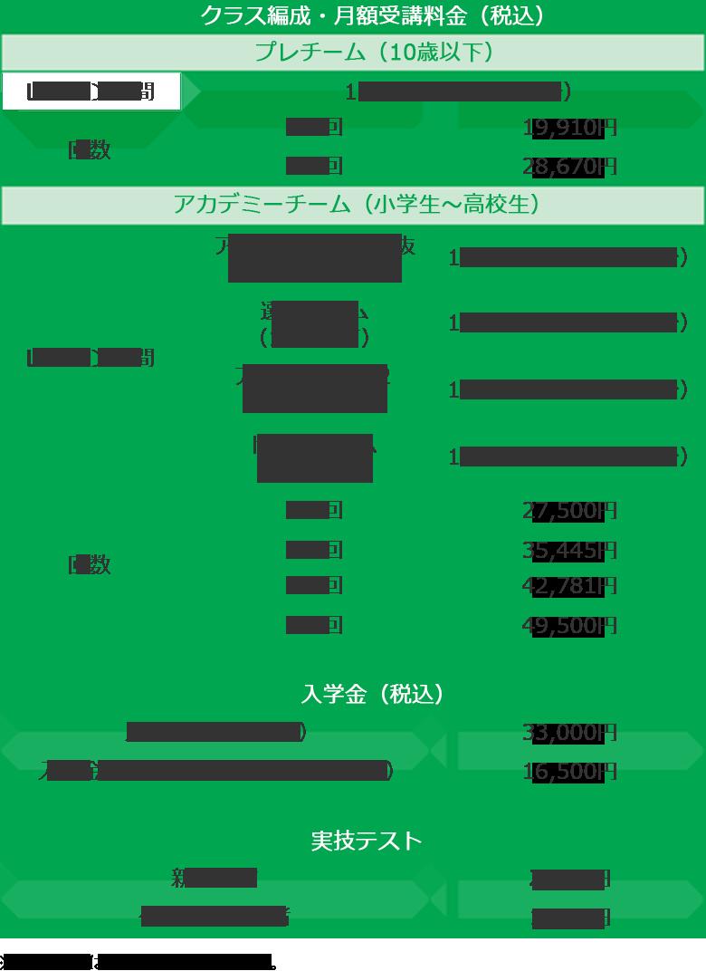 クラス編成・月額受講料金/入学金(税抜)/実技テスト