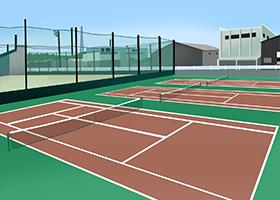 会社のテニスコートなど